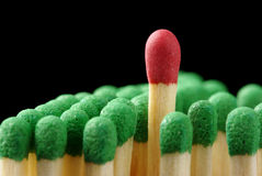 Single red matchstick among green ones Royalty Free Stock Photo