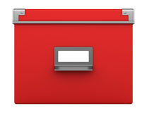 Single red office cardboard box isolated on white Stock Image
