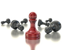 Single red pawn. Last one standing Business strategy concept Royalty Free Stock Image