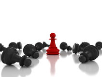 Single red pawn last piece standing Royalty Free Stock Photos