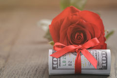 Single red rose and bunch of dollar bills Royalty Free Stock Photos