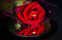 Single red rose with engagement ring over mirror Royalty Free Stock Images