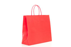 Single red shopping bag Royalty Free Stock Photos