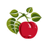 Single red simple vector apple with green leaves, ripe sweet fru Royalty Free Stock Image