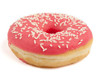 Pink Doughnut with sugar sprinkles Stock Photos