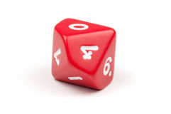 A single red ten-sided die Stock Image