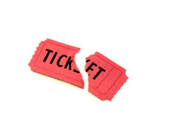Single Red Ticket for Admission. Single torn red ticket for admission to an event Stock Photos