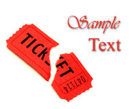 Single Red Ticket for Admission. Single torn red ticket for admission to an event Royalty Free Stock Photos
