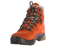 Single red trekking boot from angle Stock Photography
