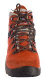 Single red trekking boot from front Stock Photo