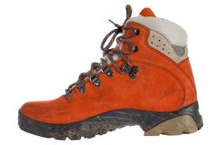 Single red trekking boot from side stock photos