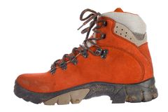 Single red trekking boot, side view Royalty Free Stock Photography