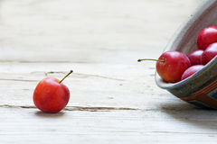 Single red wild plum and towards more in a tilted bowl on faded. Still life with a single red wild plum and towards more in a tilted bowl on faded wood, copy stock photos