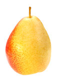 Single a red-yellow pear. Isolated on white background. Close-up. Studio photography stock images