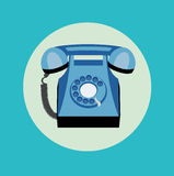 Single retro telephone flat design Stock Images