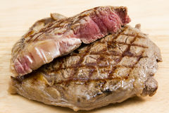 Single rib eye steak Royalty Free Stock Images