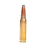 Single rifle bullet on white surface Stock Photography