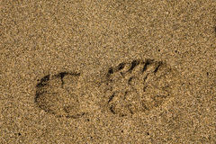 Single right shoe print in sand Stock Photography