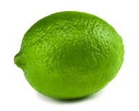 Single ripe lime isolated on white background.  Stock Photo