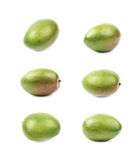 Single ripe mango fruit isolated. Over the white background, set of six different foreshortenings Stock Photography