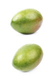 Single ripe mango fruit isolated. Over the white background, set of two different foreshortenings Royalty Free Stock Photography