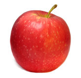 A single ripe red apple isolated on a white background. A close up of a single ripe red apple isolated on a white background Stock Photo