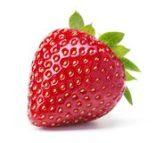 Single strawberry. Single ripe red strawberry with leaves on white background stock photos