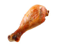 Roasted chicken leg isolated on white Stock Photography