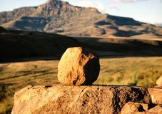Single Rock. Taken in The Free State, South Africa on a winter morning Stock Image