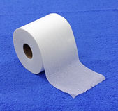 Single roll of toilet tissue Stock Photo