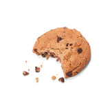 Single round chocolate chip biscuit with crumbs and bite missing, isolated on white from above. Stock Image