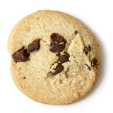 Single round chocolate chip shortbread biscuit. From above. Royalty Free Stock Photo
