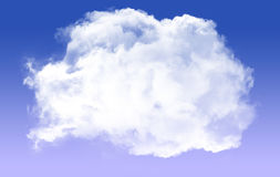 Single round cloud shape isolated over blue background vector illustration