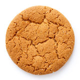 Single round ginger biscuit isolated on white from above. Royalty Free Stock Photography