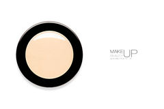 Single round makeup compact with powder foundation Stock Photos