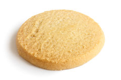 Single round shortbread biscuit isolated on white. Royalty Free Stock Photography