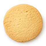 Single round shortbread biscuit isolated on white from above. Stock Images
