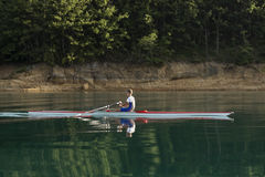 Single rower at sunrise. At the lake Stock Image