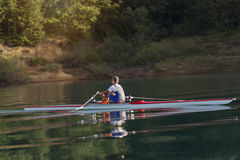 Single rower at sunrise. At the lake Royalty Free Stock Images