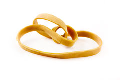 Single rubber band over white Royalty Free Stock Image