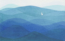 Single sail in a big ocean. Watercolor illustration showing a single white sail in a big blue ocean Stock Photo