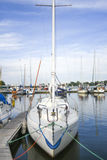 Single sailboat anchored in marine, Poland, Kamien Pomorski Royalty Free Stock Images