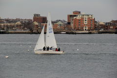 Single sailboat on Boston Harbor,Winter,2014 Stock Images