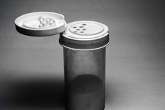 Single salt container. With salt in it and lid open royalty free stock images