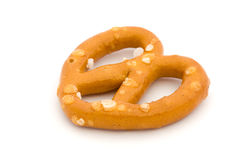 Single salted pretzel on white Royalty Free Stock Image