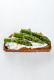 Single sandwich with cream cheese and asparagus Stock Photo