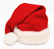 Single Santa Claus red hat isolated on white Royalty Free Stock Photos