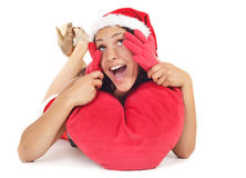 Single santa woman heart Royalty Free Stock Photography
