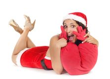 Single santa woman heart Stock Images