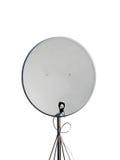 Single satellite pylon, parabolic antenna isolated. Satellite dish telecommunication technology provide stable coverage of space with radio signal. one single Royalty Free Stock Image